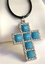 Silver Plated Cross Necklace Pendant Southwestern Black Cord Turquoise US Seller