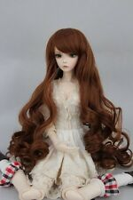 "BJD Doll Hair Wig 7-8"" 1/4 SD DZ DOD LUTS Light Brown Long Curly"