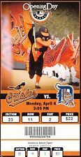 2011 BALTIMORE ORIOLES VS DETROIT TIGERS OPENING DAY TICKET STUB 4/4/11