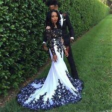 Black Lace Wedding Evening Gowns Long Sleeve Formal Pageant Prom Party Dresses