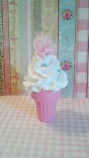 Shabby Cottage Fake Ice Cream Cone with Faux Pearls and Tulle Rose Photo Prop