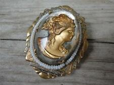 Antique Vintage Reverse Carved Painted Cameo Brooch Pin Woman Beaded Victorian