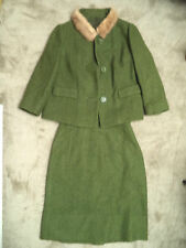 Vintage 1960s Jackie O small wool mink boucle green skirt suit coat union made