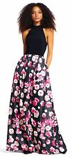 ADRIANNA PAPELL Mock Neck Black Halter Gown With Shimmer Floral Skirt- Sz 16 NWT