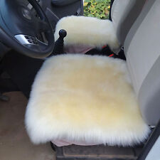 Genuine Sheepskin Wool Winter Warm Beige Car Seat Covers Chair Cushion Gift