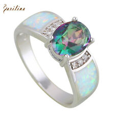 AR609 Rainbow Mystic Topaz Opal 925 stamp silver jewelry Rings for womens size 9