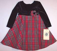 NWT Good Lad Infant Girl's Black Velvet & Red Plaid Holiday Dress, 18M, $42