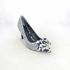 6.5 - TORY BURCH Navy Tweed Bow Detail CLEO Glitter Pumps Shoes NEW 0902EW