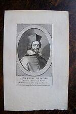 JEAN FRANC DE GONDI . PREMIER ARCHV. DE PARIS PORTRAIT, GRAVURE ORIGINALE , 1760
