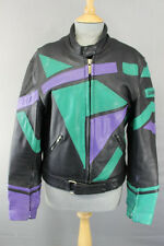AMAZING BLACK, GREEN AND PURPLE UVEX LEATHER BIKER JACKET 38 INCH