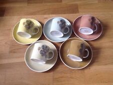 Susie Cooper Harlequin Set of 5 Coffee Cans & Saucers.