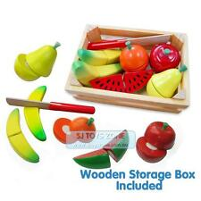 Fun Factory Pretend Play Non-Toxic Wooden Cutting Fruit Crate With Knife Free Sh
