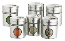 Kitchen Craft Set Of 6 Glass Fronted Stainless Herb & Spice Storage Jars Set