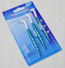 NEW SET OF 3 INTERDENTAL BRUSHES FOR CLEANING SPACES BETWEEN TEETH GREEN