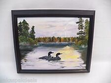 """Original """"LOONS ON LAKE"""" Framed Oil Painting by Bill Fick - VERY NICE Loon Birds"""