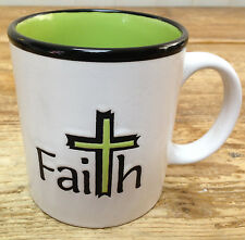 Coffee Mug FAITH Faith Black Green Inside White Cross Christian Art Gifts 240