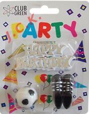 HAPPY BIRTHDAY MOTIF FOOTBALL CANDLE & BOOTS BIRTHDAY CAKE TOPPER DECORATION KIT