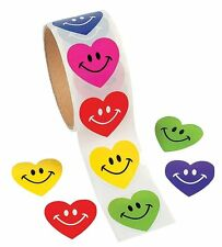 Smile Face Heart Roll of Stickers 100 Stickers Per Roll