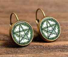 Witchcraft bronze Glass cabochon 18 mm Lever Back Earrings Jewelry #95-96
