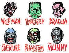 MANI-YACK - Universal Monsters - Iron-on Transfers • REPRO • FULL SET of SIX!!!