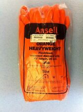 "(12 Pairs) Ansell Orange HeavyWeight Rubber Gloves 13"" (Size 9) / O4296"