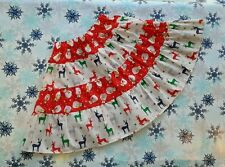 NEW GIRLS FUNKY CHRISTMAS FRILLY RUFFLE SKIRT. SNOWMEN & REINDEER. AGE 5-8.