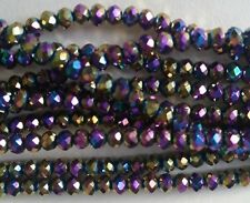 100 GLASS BEADS 3mm Round Rondelles ~ Electroplated Purple - SMALL