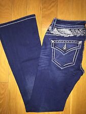 Women's NWT MISS ME Bling Angel Wings Boot Cut Mid Rise Jeans Size 24 MP9037BD