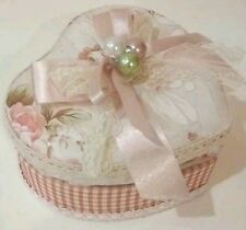 NEW SHABBY CHIC HEART FLORAL PINK RING BRACELET JEWELRY STORAGE CASE BOX