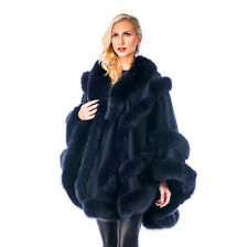 Womens Cashmere Cape with Fox Trim - Navy Empress Style