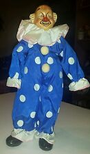 Vintage Brinn's 1986 rare clown doll Collectible Red nose Christmas