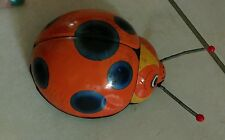 Antique vintage tin plate wind up clock word ladybird lady bug