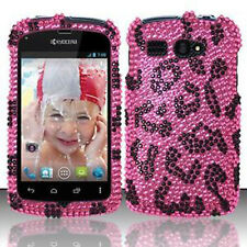For Kyocera Hydro C5170 Crystal Diamond BLING Case Phone Cover Hot Pink Leopard
