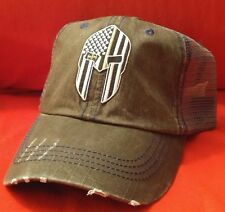 Spartan Logo Military Distressed Trucker Hat Low Profile Cotton Mesh Dark Gray