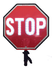 "Traffic Safety 18"" LED STOP/STOP Handheld Sign Lighted, Crossing Guard, Police"