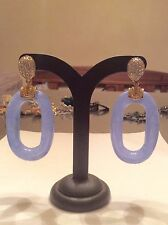 JOAN BOYCE Chalcedony and White Crystal Clip On Earrings