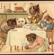 RARE NISTER...G.H. THOMPSON CATS,KITTENS BAD AT TEA TABLE,MOTHER UPSET,POSTCARD