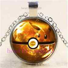 Pokemon Eevee Ball Cabochon Glass Dome Silver Chain Pendant Necklace