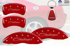 2011-2015 Dodge Challenger Red Brake Caliper Cover Front Rear INSTOCK + Keychain