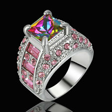 Size Princess Cut Mystic Rainbow Topaz Engagement Ring Silver Plated Party