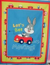 David Children's Quilt Fabric Panel Baby Looney Tunes Bugs Bunny Get Moving BTY
