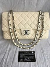 "Authentic Chanel 10"" 2.55 Cream Lamb Leather Double flap Shoulder Bag SHW"