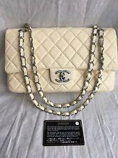 "Auténtico Chanel 10"" 2.55 Crema Cordero Cuero Doble Tapa Bolso De Hombro shw"