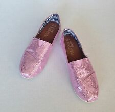 TOMS Girls Pink Glitter Sparkle Classics Canvas Slip On  Shoes Size Youth 3.5