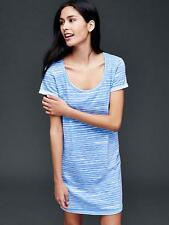 Gap Women's Light Blue Striped Roll Sleeve T-Shirt Dress Size M Petite