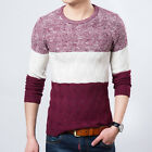 Men's Long Sleeve Crew Neck Knitwear Sweater Casual Color Block Knitted Sweaters