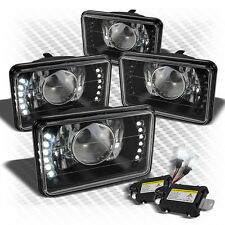 For (Set Of 4) 4x6 Black Projector Headlights+Super-Bright LED+Slim HID Kit Set