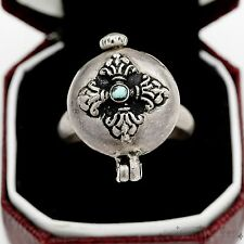 Antique Vintage Art Deco Sterling Silver Persian Turquoise Poison Ring Sz 9