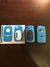 Carbon H- Blau Dekor Schlüssel Folie Skoda Bora VW Roomster RS Superb Fabia uvm