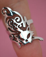 PRETTY KITTY CAT Ring All Genuine Sterling Silver.925 Stamped Size 6